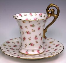 TV T&V Limoges Hand Painted Flowers 4 Cups Cup and 4 Saucers Saucer