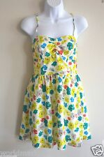 NEW American Eagle Outfitters 4 Lined floral sun Dress corset yellow teal flower