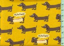 1/2 yard FLANNEL Frank the Dachshund Dog on Mustard  BTHY