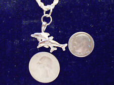 bling silver plated sea dolphin fish animal pendant charm chain hip hop necklace