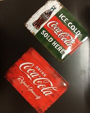 Coke Coca Cola,Ice Cold Sold Here&Refresh Yourself,Vintage Wall Sign (2 Per)