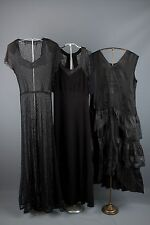 Vtg 30s Lot of 3 Women's Black Dresses AS-IS Rayon Moiree Bias Cut 1930s Goth