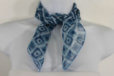 Lovely Blue Small Neck Scarf Fabric Geometric Square Print Pocket Square