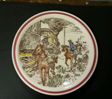 Vernon Kilns BITS OF THE OLD WEST Train Robbers Bits Plate  8 1/2 IN