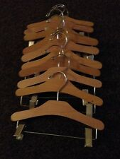 10 inch wooden coat hangers with adjustable metal clips (children's) x 10