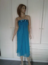 MONSOON TURQUOISE SILK CALF LENGTH DRESS SIZE 8 LINED,SEQUIN  & BEAD EMBELLISHED