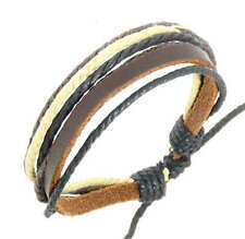 Leather Strap & Coloured Cords Bracelet Wristband Surf Surfer BROWN Adjustable