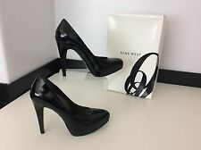 NINE WEST black Patent Court  Leather Shoes Size 38 Uk 5 Boxed RRP £70 Vgc