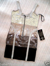 NWT bebe Dress silver black straps sexy bandage sequin sexy club skirt top XS