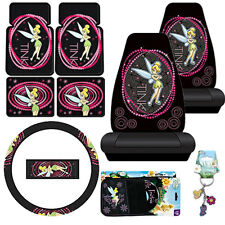 Tinkerbell Car Seat Covers Accessories 9pc Set Optic Floor Mat Steering Wheel