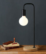 Simplicity Style Black E27 Height 47CM Wood+Iron Bedroom Bedside Table Lamp