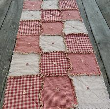 Homespun Country Primitive Red Table Rag Quilt Runner Buttons, Handmade in NJ