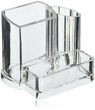 Clear Acrylic Makeup Brush and Cosmetic Holder with 3 Compartments US Seller
