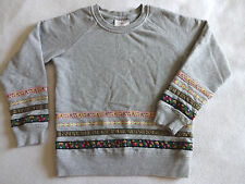 Hanna Andersson Girls 120 6 6X 7 Gray Pullover Sweatshirt Top Ribbon Floral Trim