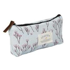Flower Canvas Pencil Pen Case Cosmetic Makeup Bag Storage Pouch Purse Blue