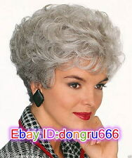 Fashion Ladies Wigs Women's Wavy short Silver Grey Curly Natural Hair wig+cap