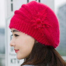 Fashion Women Beret Winter Warm Baggy Beanie Knit Flower Crochet Hat Slouch Cap