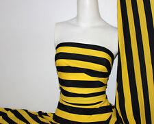 Black/Yellow Stripes Nylon/Spandex 4 way stretch Matt Finish Fabric