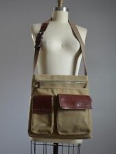 FOSSIL ARMY GREEN CANVAS CROSS BODY MESSENGER BAG w/ BRN GENUINE LEATHER POCKETS