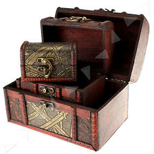 3 x Wooden Pirate Jewellery Storage Box Case Holder Vintage Treasure Chest