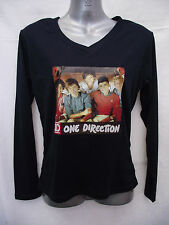 BNWOT Girls Sz 8 One Direction 1D Photo Black Long Sleeve V Neck Stretch Top