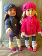 "Dolls Fashion clothes knitting  pattern. 18"" doll. Cardigan set to fit AG, Gotz"
