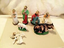 VIntage CHRISTMAS 7 PC NATIVITY SCENE Hand Painted Set Italy Germany