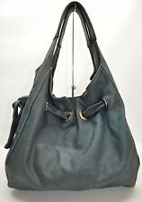 Tano Distressed Blue Genuine Leather Slouchy Hobo Tote Bag