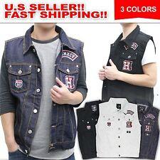 Men's Premium Raw Denim Color Vest casual Jacket JEAN VEST Size M-3XL PREMIUM