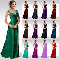 2016 STOCK New Long Satin Formal Prom Party Ball Gown Bridesmaid Evening Dresses