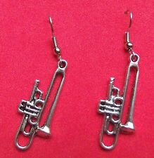 TROMBONE  EARRINGS  TIBET SILVER, EAR WIRE STAINLESS STEEL