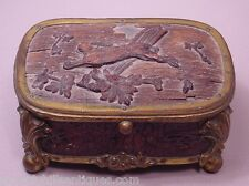 Antique Circa 19th Century Signed French Carved Wood & Gilt Metal Rabbit Box