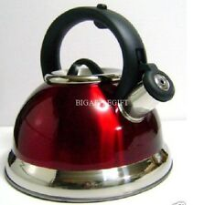 High Quality Stainless Steel Whistling TEA KETTLE Metallic Red 2.5 Liter