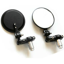 "MOTORCYCLE 3"" ROUND BLACK 7/8"" HANDLE BAR END MIRRORS CAFE RACER BOBBER CLUBMAN"