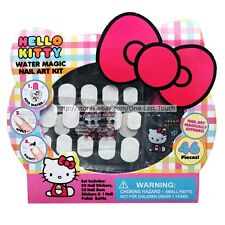 HELLO KITTY 46pc WATER MAGIC Nail Art Kit STICKERS+GEMS+POLISH BOTTLE (Boxed)