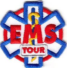 """""""EMS TOUR"""" PATCH - Iron On Embroidered Applique/ Medical, Red Cross,Emergency"""