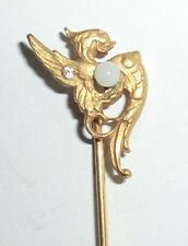F&B Stick Hat Lapel Pin Brass Dragon Griffin Gryphon Chimera Opal Glass