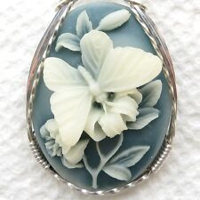 Butterfly Flower Cameo Pendant .925 Sterling Silver Jewelry Blue Resin