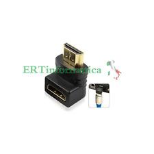 ADATTATORE CONNETTORE HDMI ANGOLO 90° ANGOLATO ANGOLARE FULL HD TV MONITOR PC