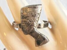 ANTIQUE EGYPTIAN NEFERTITI STERLING SILVER RING THREE EGYPT HALLMARKS SIZE 9.5