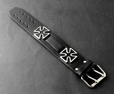 Mens Leather Bracelet Punk Biker Studded Cuff Bangles /Can Add Watch