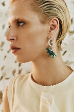 CELINE TOY DINOSAUR SPRING 2017 MONO EARRING IN GREEN RESIN AND SILVER BRASS