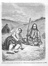 USA CANADA INDIENS CREES INDIANS GRAVURE ENGRAVING 1873