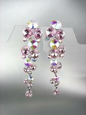 EXQUISITE Pink Iridescent Czech Crystals WATERFALL Pageant Bridal Prom Earrings