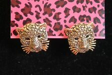 """Betsey Johnson Gold PLated Tiger Head Earrings, 1/2"""" , Post"""