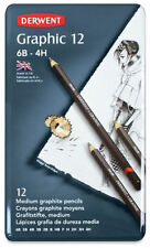 NEW - DERWENT SET OF 12 GRAPHIC MEDIUM  PENCILS  IN TIN METAL CASE