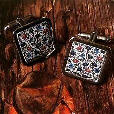Unique! ART NOUVEAU THISTLE CUFFLINKS chrome SCOTTISH mens GIFT wedding VINTAGE