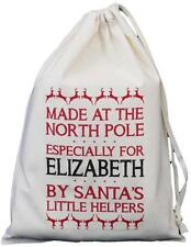 Personalised - Made at the North Pole - SMALL Cotton Drawstring Bag 25cm x 35cm