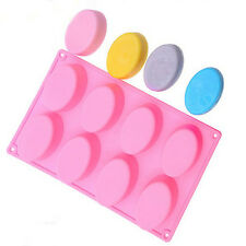 8-cavity Oval Shape Cake Mould Soap Mold Silicone Flexible Chocolate Mold Tray