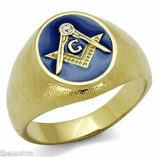 MASONIC MASON GOLD BLUE COLOR RING ALL SIZES 8 9 10 11 12 13 14 15